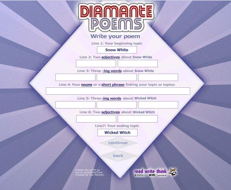 Diamante Poem Structure Related Keywords & Suggestions - Diamante Poem ...
